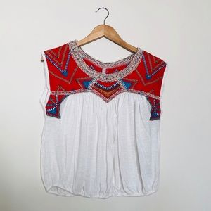 Free People Embroidered Tribal Sleeveless Top M